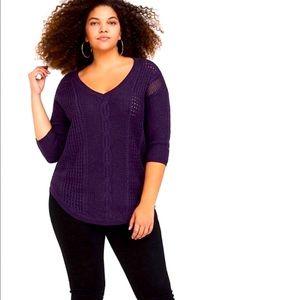 Torrid Purple Lurex Pointelle V-Neck Sweater Sz 3